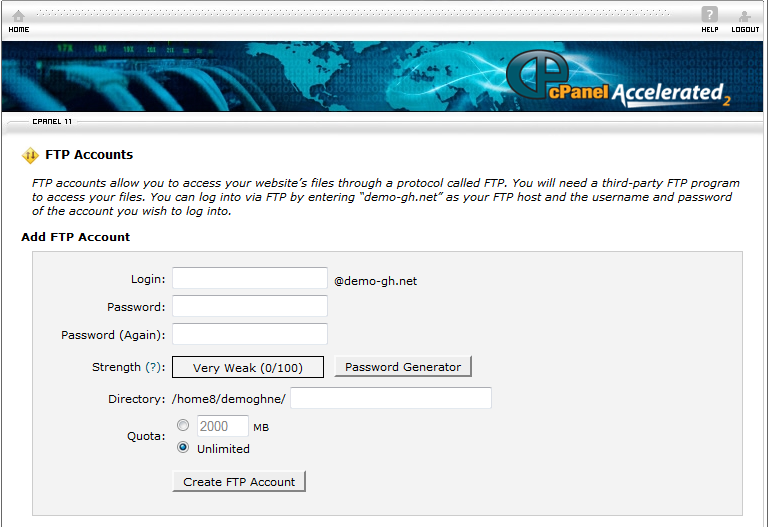 how to create new ftp account www.globalhosting247.com
